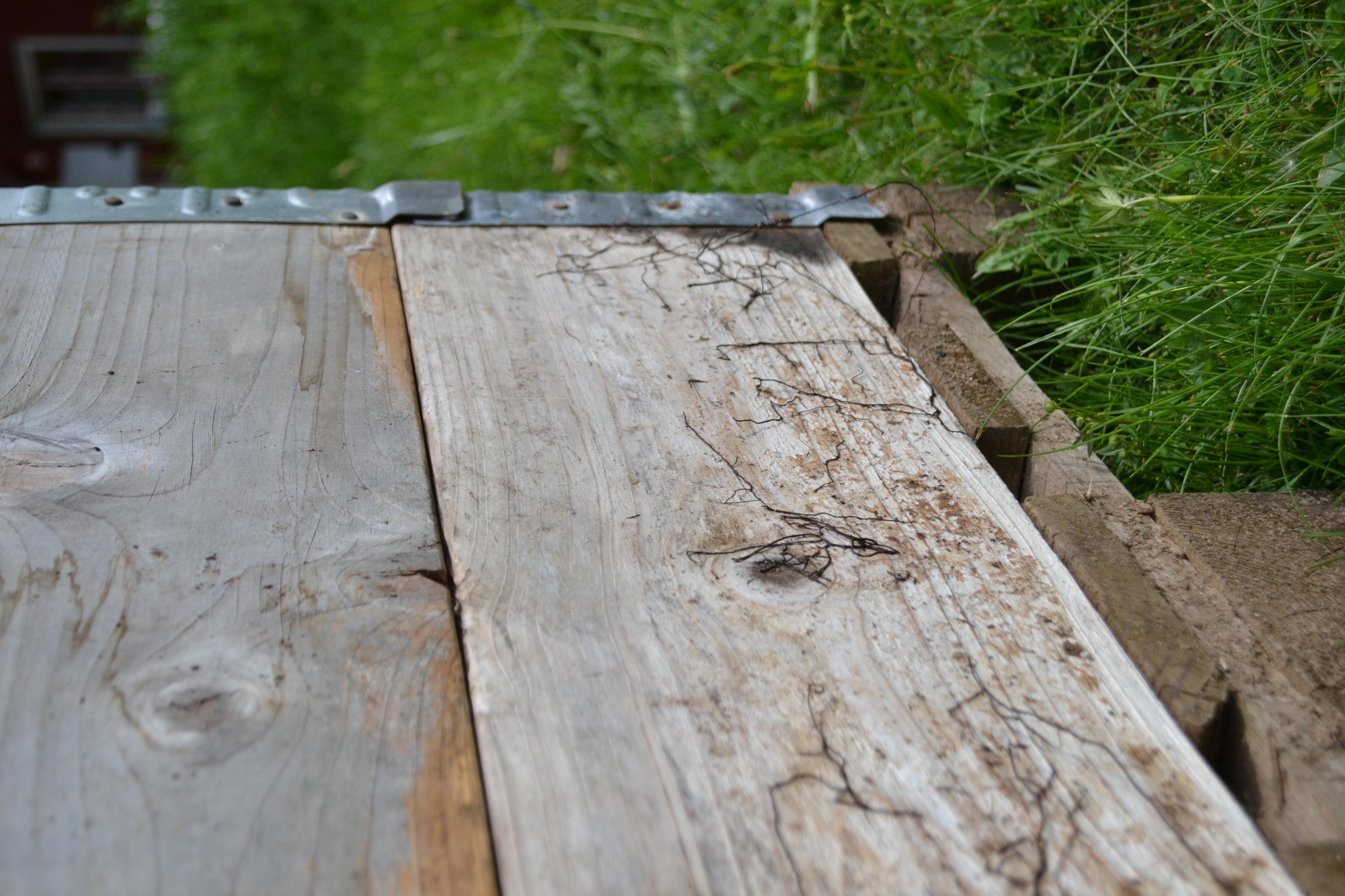 Detaljbild på hur pallkragen satts över en lastpall. Pallet collar on top of a pallet.