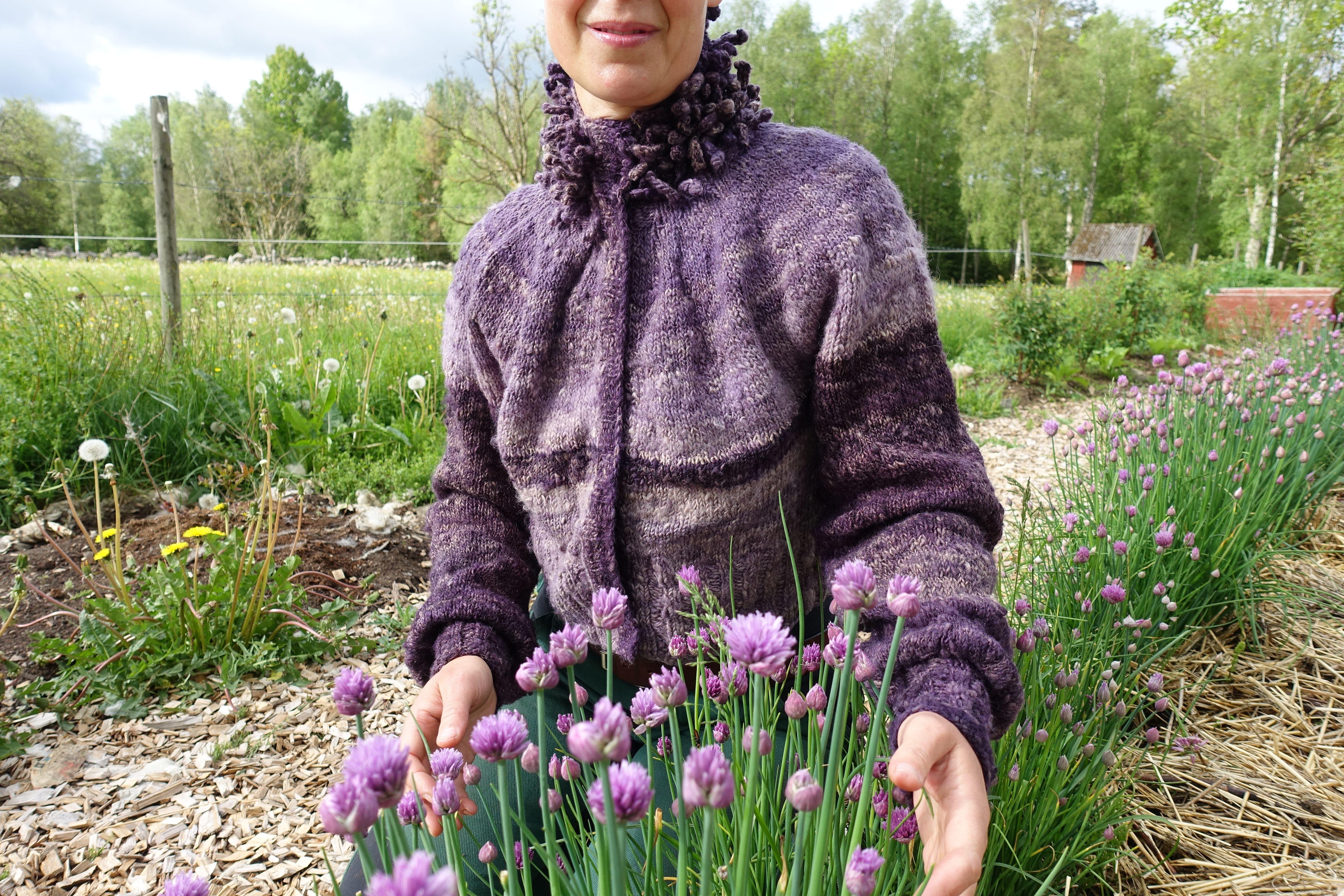 Sara sitter vid blommande lila gräslök. My puff sleeve cardigan.
