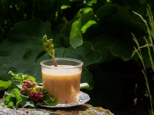 Smörig, rosa rabarbercurd i ett vackert glas.