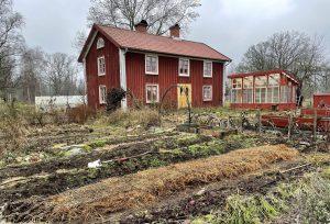 Ett rött hus med vissen trädgård framför.